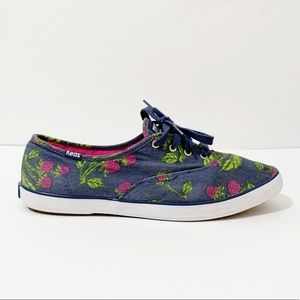 Keds Blue Floral Canvas Sneakers